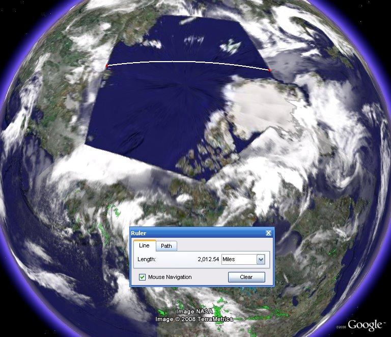 Näkymätön alus Google Earthissa. Klikkaa suuremmaksi.